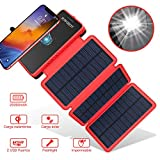 Cargador de Solar 20000Mah,Inalámbrico PowerBank Portátil de POWOBEST,Impermeable Batería Externa con 3 Paneles Solares Plegables, Linterna, Dual USB 5V/2.1A para iPhone,Huawei y Móvil