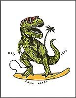 【サーフィンする ティラノサウルス】 余白部分にオリジナルメッセージお入れします!ポストカード・はがき(白背景)
