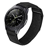 TRUMiRR Band for Samsung Galaxy Watch 42mm / Watch 3 41mm / Active2 44mm 40mm / Gear Sport Men, 20mm Loop Woven Nylon & Genuine Leather Watchband Quick Release Strap for Garmin Vivoactive 3