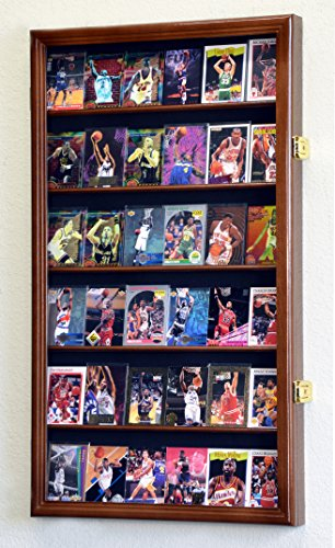36 Sport Cards Collectible Card Display Case Cabinet Holder Wall Rack 98% UV, Lockable -Walnut