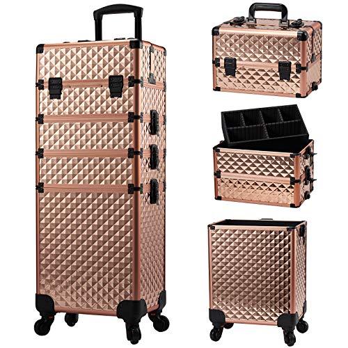Kosmetikkoffer Trolley Schminkkoffer , 4-in-1 Kosmetikkoffer Große Kapazität Friseurkoffer Make up Koffer mit Rollen,abschließbarer und tragbarer Kosmetik Make up Organizer...