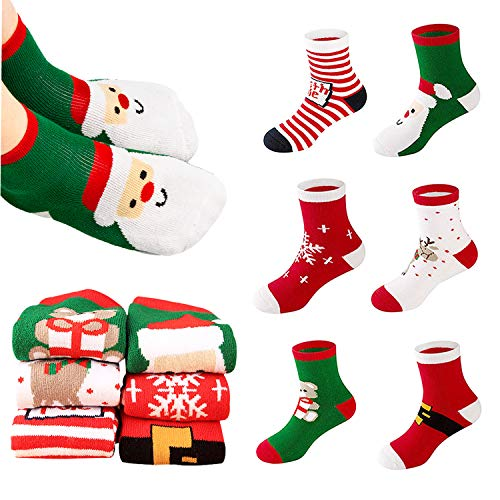 Yansion Christmas Socks, 6Pairs Autumn Winter Thicken Socks for Kids Gift (S)