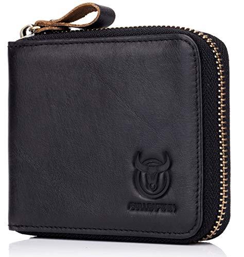 BULLCAPTAIN Men Genuine Leather Zipper Wallet RFID Blocking Bifold Wallets ID Window Credit Card Case 1