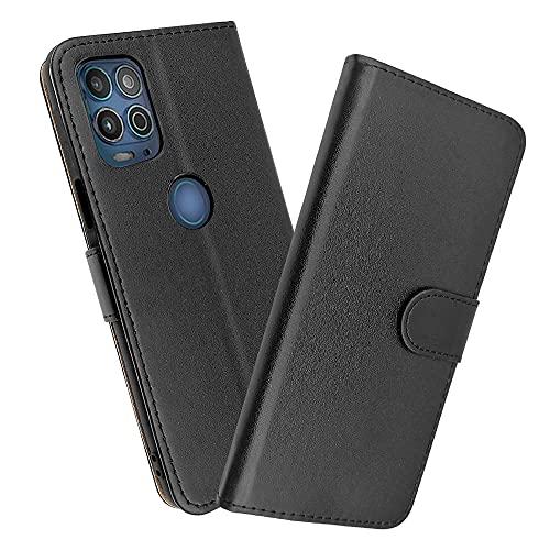 SDTEK Hülle Kompatibel mit Motorola Moto G100, Tasche Leder Flip Hülle Brieftasche Book Etui Schutzhülle Handyhülle (Schwarz)