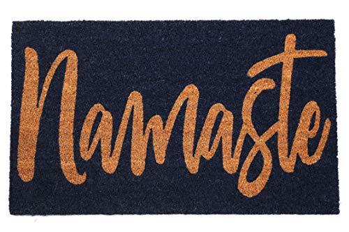 FAB HAB Cursive Namaste Felpudos 46 cm x 76 cm Natural Rubber, Anti-Deslizante, Durable
