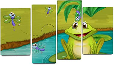 Pond Summer Animal Frog Dragonfly Wall Art 4 Pieces Set Painting Canvas Home Modern Artworks Giclee Print Bedroom for Living Room Home Office Decor