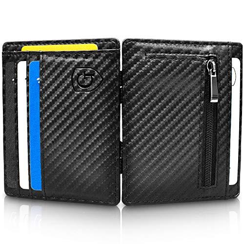 GenTo® Vegas Magic Wallet - Das Original - TÜV geprüft - Dünne Geldbörse mit Münzfach - Geschenk für Herren mit Geschenkbox - Smarter Geldbeutel - Slim Portemonnaie (Carbon)
