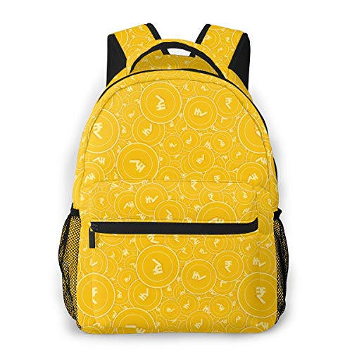 Indian Rupee Coins Fashion Outdoor Shoulders Bag Durable Travel Camping Backpack For Adult