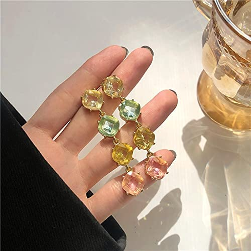 Luxury Colorful Pink Green Crystal Clip on Earrings Transparent Glass Stone Long Clip Earrings Without Piercing Women