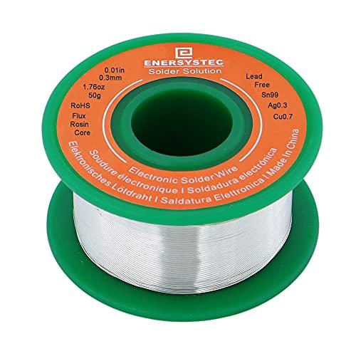 Ultra-Thin Solder Wire 0.01in (0.3mm) Rosin Core Flux 2.5, Lead Free Solder Wire Sn99 Ag0.3 Cu0.7 Flow 50g Electronics Soldering Electric Solder