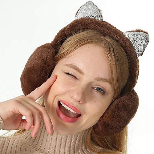 wesir Faltbare Katze Ohr Ohrenschützer Pailletten Frauen Mädchen Fell Plüsch Ohrenwärmer Muffs Glitter Stirnband -Cartoon 3D Earlobe