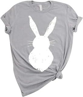 ブラウス Hodarey レディース カジュアル Tシャツ 大きい上着 ジョーカーシンプルコットントップスラビット柄 半袖ファッション トップス 可愛い おしゃれ トップス ゆったり上着 春 夏 tシャツ 女性 人気 Tシャツ 部屋着 半袖 日常用