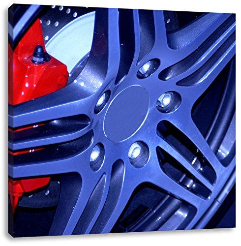 Pixxprint Coole Tuner Felgen 70x70cm Leinwandbild Wandbild Kunstdruck