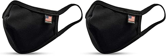 MEGLIO Made in USA Cotton Washable Double Layered Mask with flag label Pack of 2 (Black)