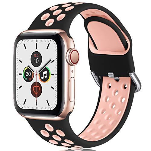 CeMiKa Correa Compatible con Apple Watch Correa 38mm 40mm 42mm 44mm, Suave Silicona Deporte Correa con Compatible con Apple Watch SE/iWatch Series 6 5 4 3 2 1, 38mm/40mm-S/M, Negro/Rosa