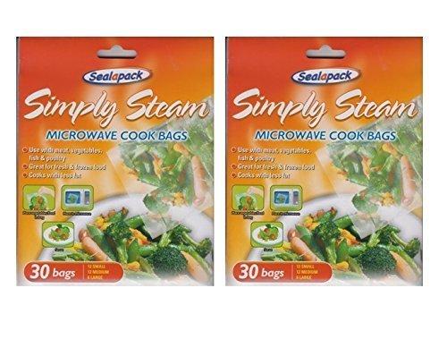Sealapack-Beutel zum einfachen Dämpfen von Gemüse in der Mikrowelle, Kochbeutel, 2x Packungen mit je 30 Beutel