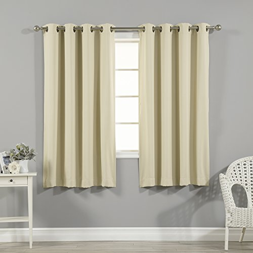 """Best Home Fashion Closeout Basic Thermal Insulated Blackout Curtains - Antique Bronze Grommet Top - Beige - 52"""" W x 63"""" L – No tie Back (1 Panel)"""