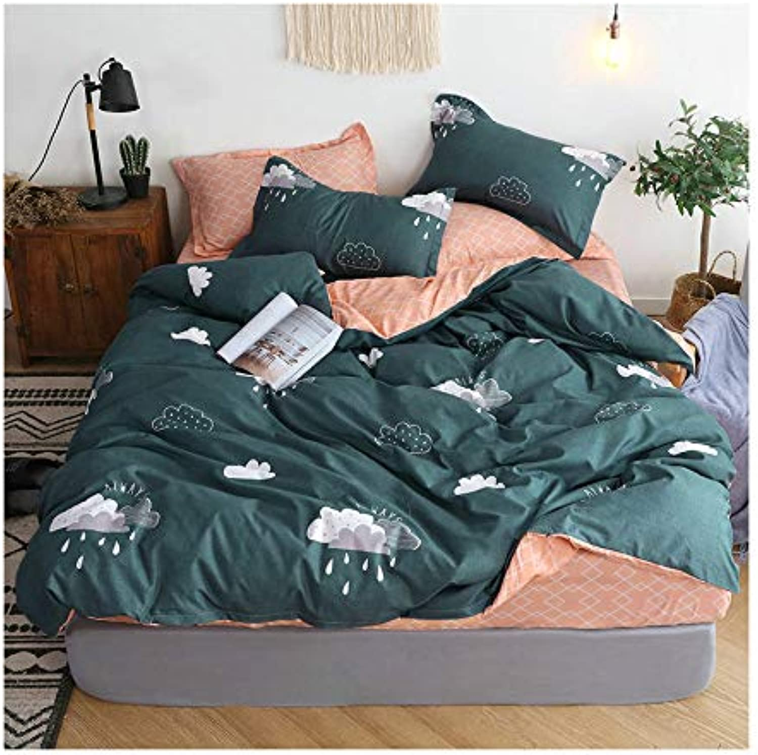 KFZ Hot Heart Flamingo Printed Bed Set BeddingSet Includes Comforter Cover Fitted Sheet Pillowcases Twin Full Queen Sheets Set Bohemian Fashinn for Kids 4pcs (Cloud, Grey, Full 70 x86 )