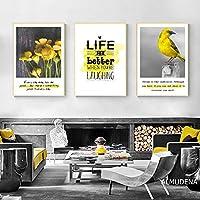 """北欧の装飾ホームアートポスター黒黄色の花鳥キャンバス絵画レトロな動物壁の写真3個40x50cm / 15.7 """"x19.7""""フレームなし"""