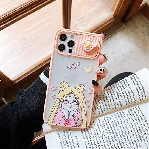 Niedliche Japan Anime Objektivschutz Sailor Moon Soft Phone Hülle für iPhone 11 12 Pro Max X XS XR 7 8 Plus SE2 Luxus 3D Pink Cover für iPhone 11 Pro 1