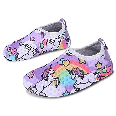 JOINFREE Niños Niñas Nadar Zapatos para el Agua Deportes acuáticos Calcetines Zapatillas Zapatos para la Piscina (Unicornio Arcoiris,28-29)