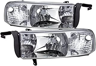 AJP Distributors Headlights Lights Lamps For Dodge Ram 1500 2500 3500 1994 1995 1996 1997 1998 1999 2000 2001 2002 94 95 96 97 98 99 00 01 02 (Chrome Housing Clear Lens Clear Reflector)