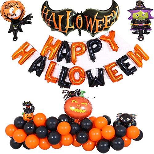 Happy Halloween Ballons Set, raqueta, calabaza negra, araña, árbol fantasma, bruja, Calabaza, foil, globos de látex, globos Happy Halloween Banner Festival Fiesta Decoración