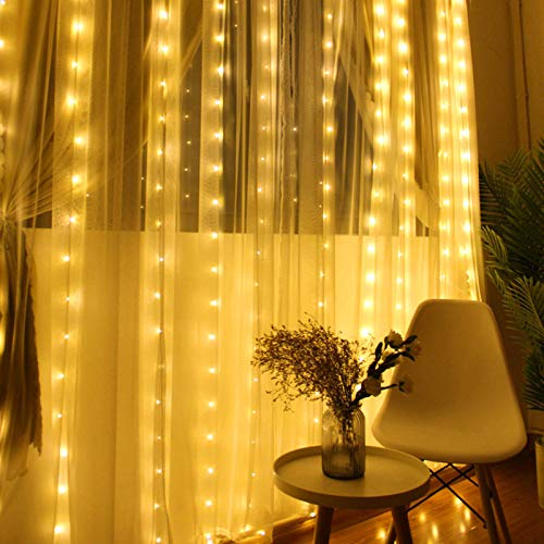Chinety Window Curtain Lights 300 LED Upgraded Bigger Bulbs USB Plug in Fairy Lights 8 Modes Remote Control Curtain...