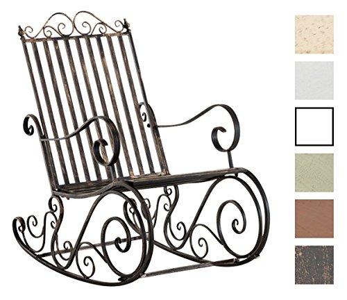 CLP Mecedora De Hierro Smilla I Mecedora Relax De Jardín I Mecedora De Exterior En Estilo Rústico I Sillón Mecedora De Balcón o Terraza I Color: Bronce