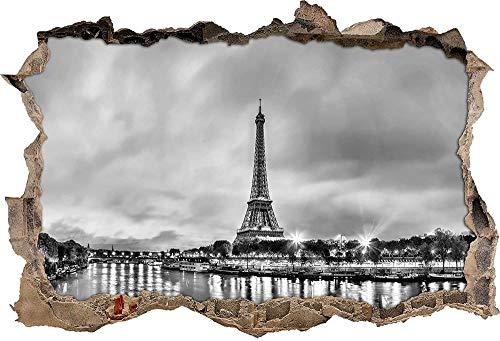 KAIASH Pegatinas de Pared Monocromo Torre Eiffel París de Noche Avance de Pared en Apariencia 3D Etiqueta de Pared o Puerta Etiqueta de Pared Calcomanía de Pared Decoración de Pared 62x42cm