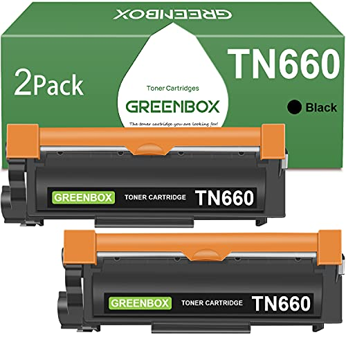 GREENBOX Compatible Toner Cartridge Replacement for Brother TN660 TN-660 TN630 for Brother HL-L2300D DCP-L2520DW DCP-L2540DW HL-L2360DW HL-L2320D HL-L2380DW MFC-L2707DW Printer (2 Black)
