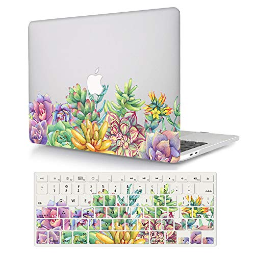 MacBook Air 11 inch Case Model A1370/A1465, AJYX Pattern Plastic Hard Shell Case Protective Cover & Keyboard Cover Skin Compatible MacBook Air 11.6'' - Succulent Plant