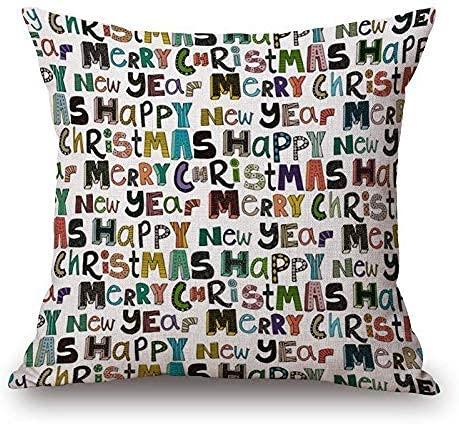 Funda de cojín decorativa con letras navideñas, para sofá, cama, decoración del hogar, festival, funda de cojín de 45,7 cm, patrón 3