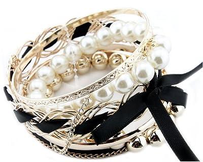 BONAMART Set Of Multilayer Braided Bow Faux Pearl Bead Bracelet Bangle Jewelry