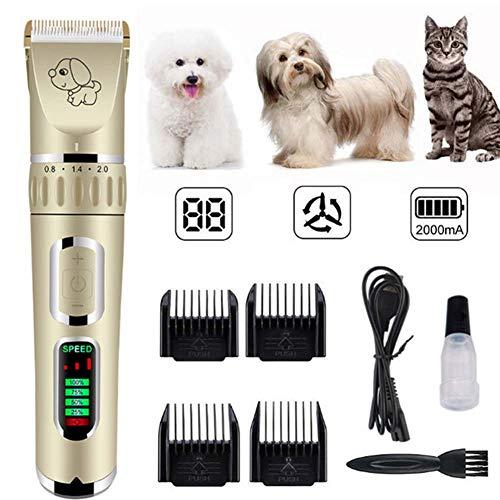YWJH Haarschneidemaschine Hunde, Haarschneidemaschine Tierhaarschneider Hunde Profi, Geringe Vibrationen, Wiederaufladbare, für Hunde/Katzen/Pferde