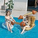 JanTeelGO Hamaca de Agua Inflable, 2 Piezas de Flotador en Forma de Inodoro con Barra, sofá de Aire Premium Mejorado, para Tomar el Sol en la Playa de la Piscina (Oro + Blanco)