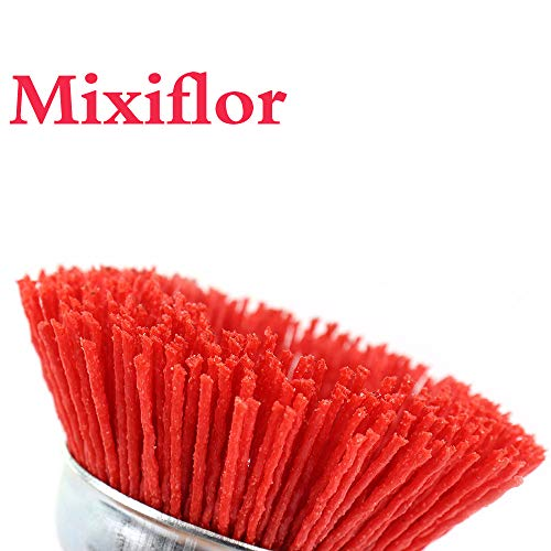 Mixiflor 6Pcs 3 Inch Nylon Filament Abrasive Cup Brush Set with 1/4 inch Shank Drill (6mm) - 80/120/240 Grits for Rust Removal/Corrosion/Paint