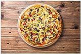 Wallario Acrylglasbild Italienische Pizza mit Peperoni, Oliven. Paprika und Käse - 60 x 90 cm in Premium-Qualität: Brillante Farben, freischwebende Optik