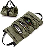 Tool Roll Organizer Heavy Duty Canvas Wrench Tools Pouch with 5 Zipped Pockets Roll Up Tool Bag for Electrician, HVAC, Plumber, Carpenter or Mechanic (Army Green)