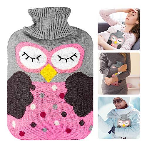 Wärmflasche mit Bezug 2 l, Xpassion-Wärmekissen, abnehmbarer und waschbarer Wärmebeutel mit gestricktem Bezug, sicher und langlebig getestet und frei von Schadstoffen für Kinder