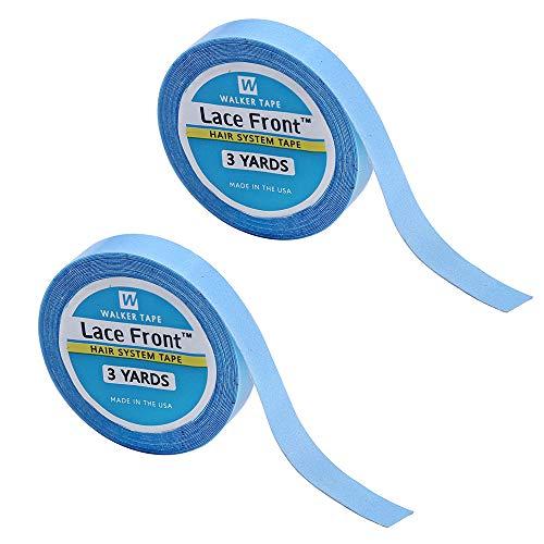 2 Stücke Lace Front Perücke Stützband, Haarverlängerung Salon Blau Band Doppelseitiges Klebeband Rolle Klebeband (0,8 cm * 3 Yard)