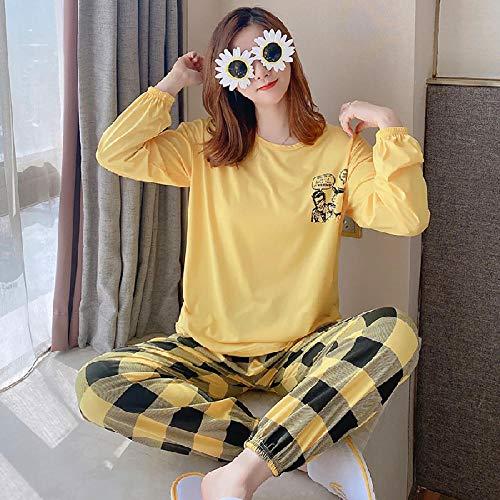 B/H Cuerpo Entero de Manga Larga para Mujer,Pijama de Terciopelo Simple para el hogar de Invierno para Mujer-Amarillo_L,Piyama de Mujer Invierno