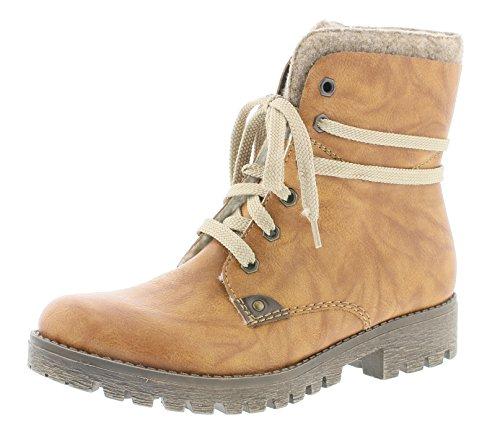Rieker Damen Klassische Stiefel 785F5,Frauen Boots,Schnürstiefel,Blockabsatz 3.3cm,Cayenne/Wood/Kastanie, EU 40