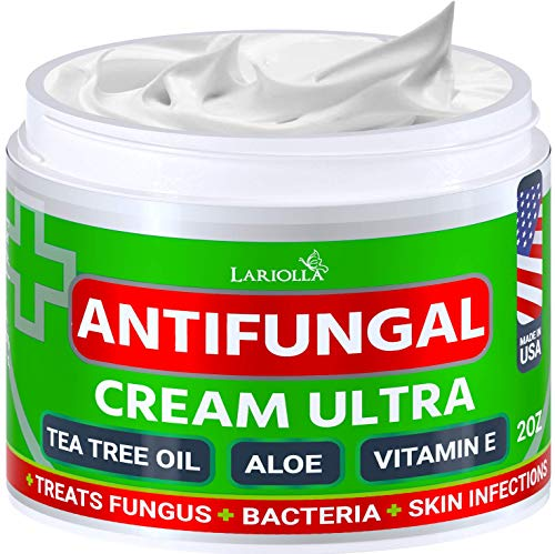 Natural Antifungal Cream - Made in USA - Effective Treatment for Toenail Fungus, Athletes Foot, Ringworm Treatment for Humans, Jock Itch - Combats Body Acne - Aloe Vera, Tea Tree, Mineral Oils - 2 OZ