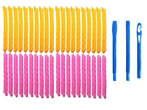 43 rulos manuales para mujer, sin calor, 55 cm, con 3 ganchos de peinado (43 unidades)