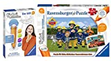 tiptoi Ravensburger 00046 Puzzle para pequeños exploradores: Sam el bombero + bolígrafo Ravensburger 00801 con función de grabación, a partir de 4 años
