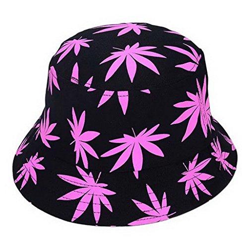 Fancyland Fancyland Unisex Buschhut Sonnenhut Bucket Hat Fischerhut Cannabis Muster Mütze Sommer Outdoor Fischermütze (Rosa)
