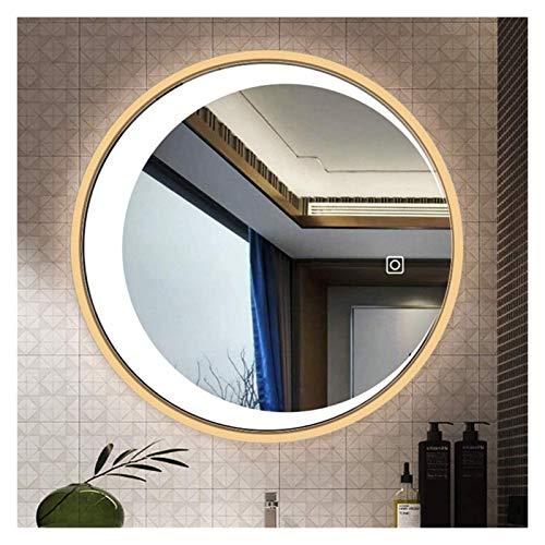Espejo de pared moderno para baño con luna redonda, espejo de luz LED, espejo de tocador con botón táctil inteligente (color: luz blanca A, tamaño: 70 cm)