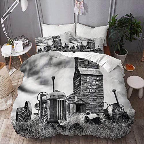 Ropa de cama Funda nórdica Juego de 3 fundas de edredón con 2 fundas de almohada, viejo tractor industrial abandonado en una granja en el centro de Canadá Nostálgico, edredón de microfibra ultra suave