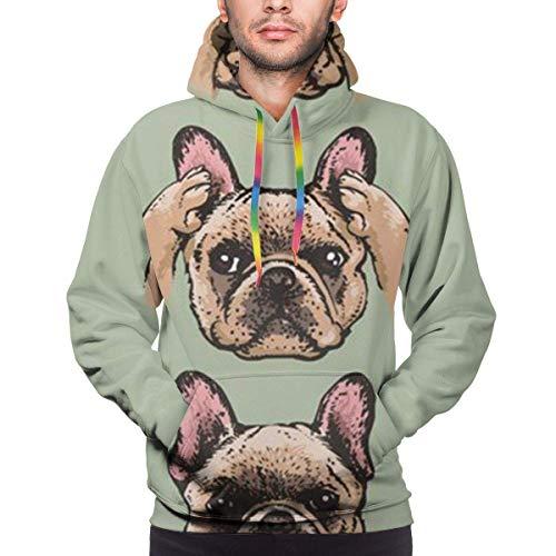 Funny Z Niedliche englische Bulldogge Herren Hoodie Langarm Sweatshirt Kapuze Casual Pullover Hoodie mit großen Taschen, Größe XL
